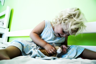 toddler, cat, pet, child, girl