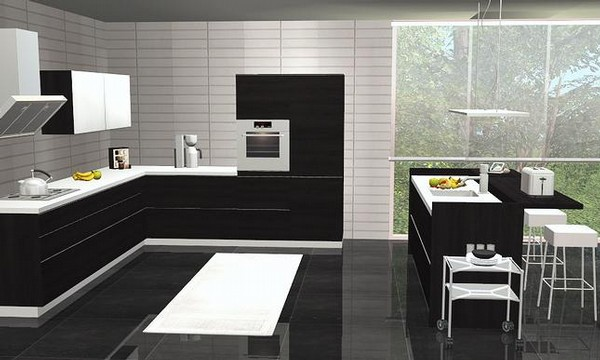 for Black and white kitchen what colour walls
