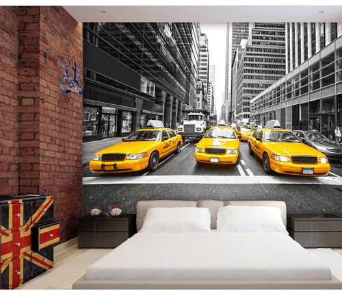 Fototapet New York tapet taxi bilar