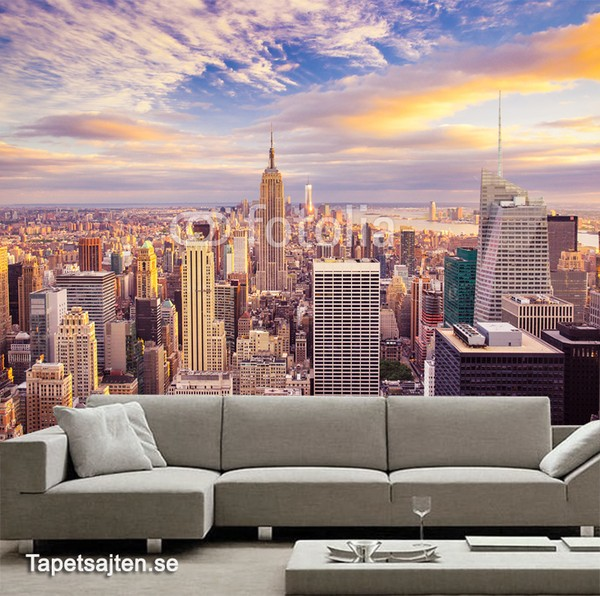Fototapet New York Skyline tapet new york skyline manhattan skyskrapor stad utsikt fototapet vardagsrum 3d