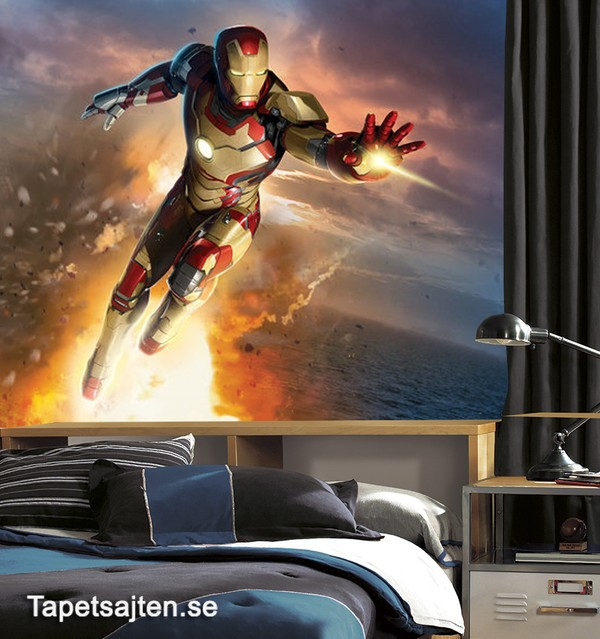 Marvel Tapet Iron Man Fototapet Barnrum Superhjältar Tapet Barntapet