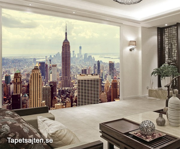 New York Tapet Fototapet New York Skyline empire state building stad skyline 3d fototapet fondvägg