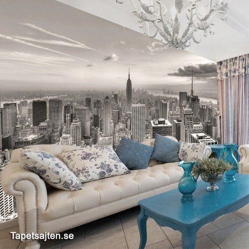 Fototapet New York tapet svart vit vardagsrum skyline manhattan stad 3d
