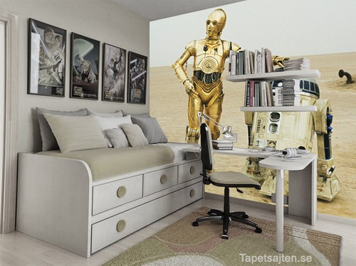 star wars tapet c3po r2d2 tatooine ungdomsrum killrum pojkrum