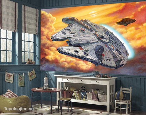 star wars tapet millennium falcon barnrum