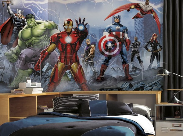easy up tapet barnrum avengers ironman fototapet barntapet hulk captain america