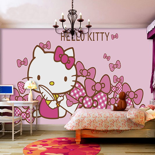 Hello Kitty Tapet Tjejtapet Babytapet Rosa Tapet