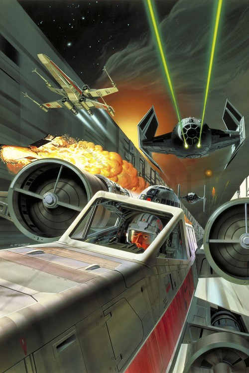 star-wars-tapet-death-star-and-x-wing-fighters