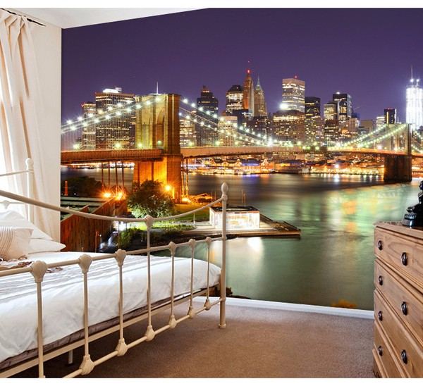 Fototapet New York tapet brooklyn bridge natt fototapet manhattan skyline 3d