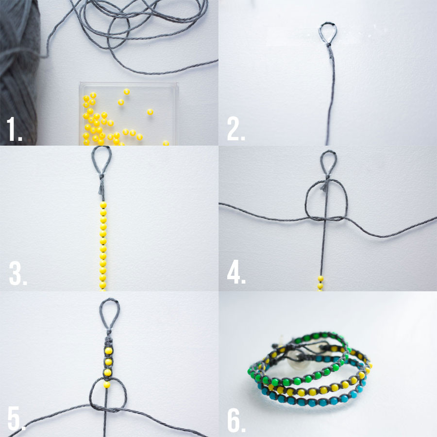 bracelet-DIY-grey-yellow
