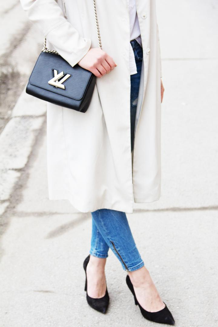 jeans trench coat heels and louis vuitton bag