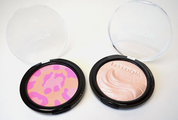 freedom makeup revolution haul review swatches pro glow pink cat brighten