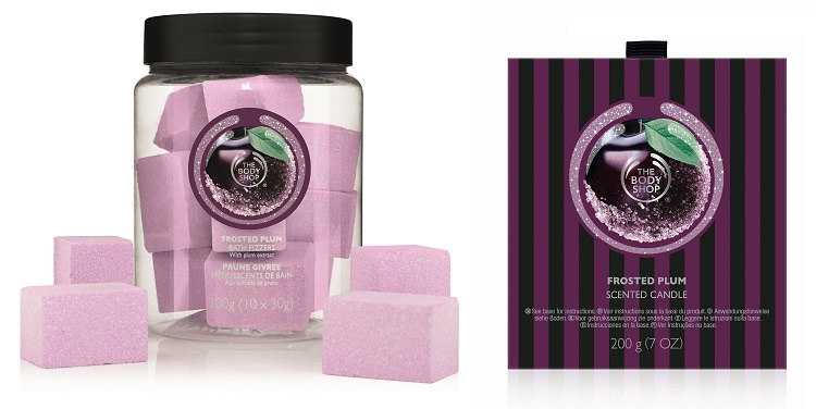 the body shop frosted plum scented candle bath fizzers