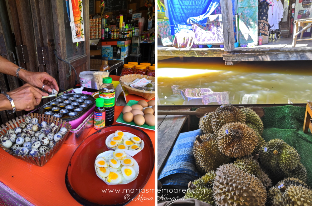 floating market in Pattaya - durian and quail eggs