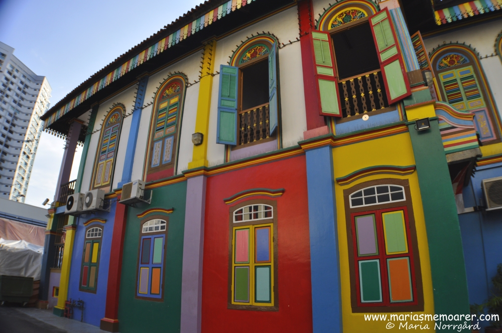 Colourful building in Little India, Singapore: House of Tan Teng Niah / färgglad byggnad i Singapores stadsdel Little India