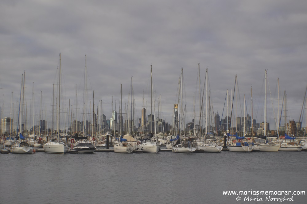 Sailing boats and skyline at St Kilda Pier, Melbourne