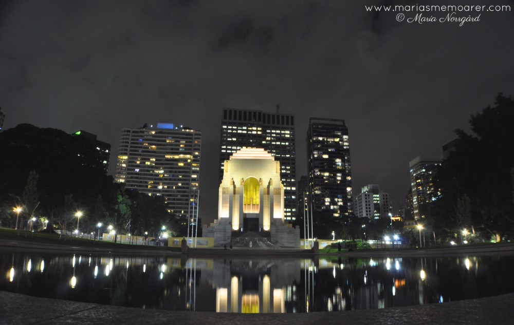 Hyde Park by night, Pool of Reflection and Anzac Memorial, Sydney, Australia