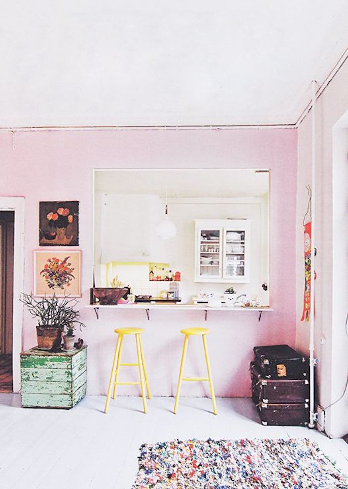 pink wall in kitchen