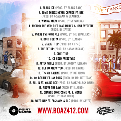 Boaz The Transition tracklist back cover