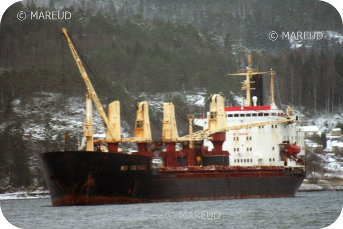 IMO number : 7519282   Name of ship : MED SALVADOR (since 01-10-2007)   Call Sign : 3ENG5   MMSI : 354681000    Gross tonnage : 21892 (since 01-06-1994)   DWT : 31900   Type of ship : General Cargo Ship (during 1978)   Year of build : 1978   Flag : Panama (since 01-10-2007)   Status of ship : In Service/Commission (since 01-03-2006)