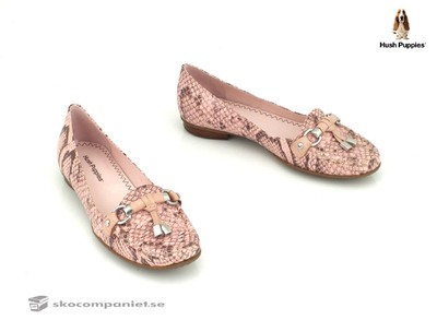 Hush puppies mockasin i rosa ormskinn imitation