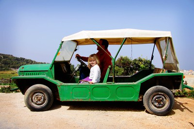 green, mini moke, malta, mgarr, girl, father, jeep