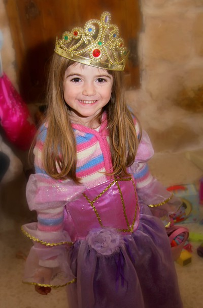 3 year old girl dressed up as a princess, Malta, Mgarr