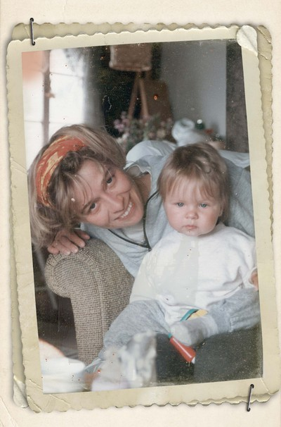 Vintage photo of woman with girl, taken on the weast coast of Sweden 1995