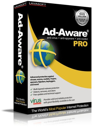 Ad-Aware Pro is Lavasoft's solution to combat the most extreme forms of malware and cyber threats, including protection against viruses, spyware, keyloggers, Trojans, rootkits, password stealers, bot networks, and drive-by downloads. An advanced solution that won't load down system resources, Ad-Aware Pro is the optimum security tool for today's small businesses.