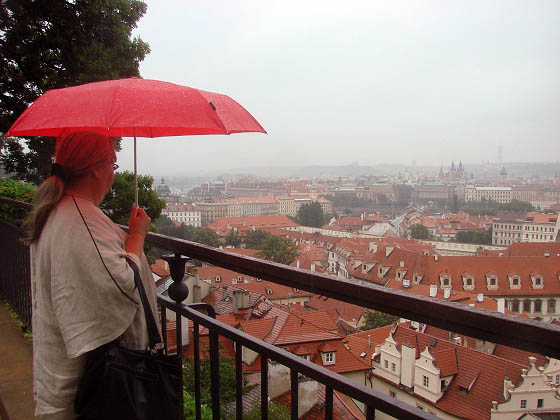 Eva at Prague castle in rain