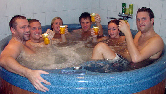 Relaxing in jacuzzi