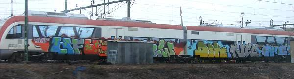 Graffiti smeared Itino train