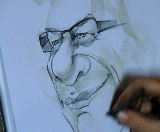 Caricature being finished