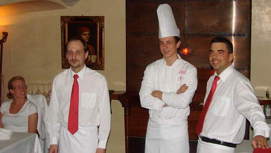 Chef and waiters