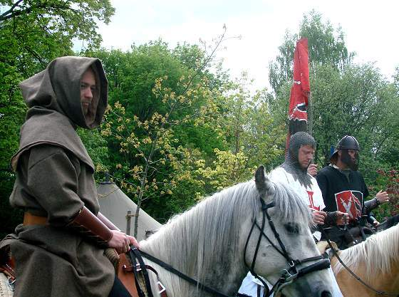 Knights at medieval market in Leksand
