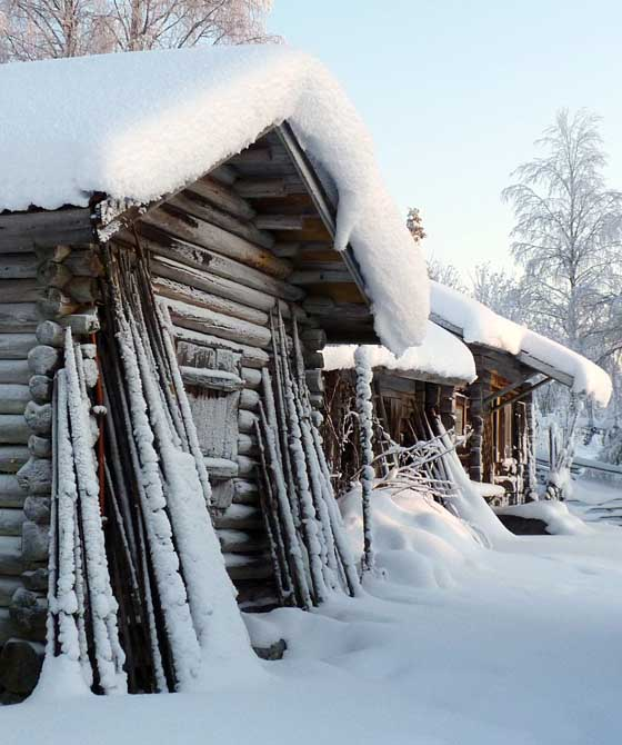 Old snowy houses