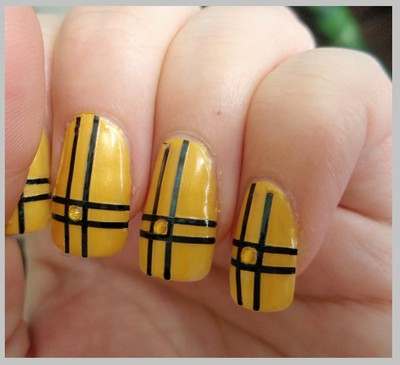 China Glaze - Solar Power & Black striping